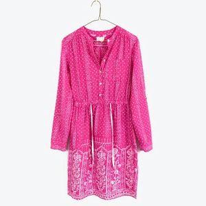 MEADOW RUE Floral Drawstring Henley Shift Dress